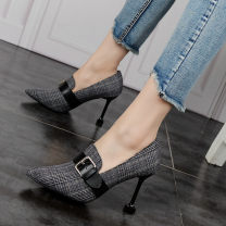 Low top shoes 34,35,36,37,38,39 Other / other Sharp point cloth Fine heel Super high heel (over 8cm) Deep mouth PU Spring of 2019 Trochanter commute Adhesive shoes Youth (18-40 years old) lattice rubber Single shoes PU daily