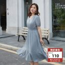 Women's large Summer 2021 Light green, Navy Large XL, 2XL, 3XL, 4XL, 5XL, 6xl Dress singleton  commute Self cultivation moderate Socket Short sleeve Solid color Korean version V-neck Polyester, others Three dimensional cutting QLXQF0965ULK Delicate and beautiful 25-29 years old Medium length
