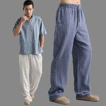Casual pants Mafan cloth clothes Fashion City Beige, grey blue M,L,XL thin trousers Other leisure Straight cylinder Thin cotton and linen trousers summer Chinese style 2021 middle-waisted Straight cylinder Solid color Cotton and hemp