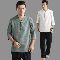 T-shirt Fashion City Beibai, doulv, shahui routine M,L,XL Mafan cloth clothes three quarter sleeve V-neck standard Other leisure summer Hemp t-collar with three cloth buttons routine Chinese style 2021 hemp