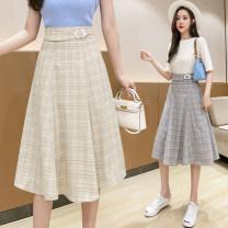 skirt Summer 2021 S,M,L,XL,2XL Mid length dress Versatile Natural waist Umbrella skirt lattice Type A 25-29 years old 30% and below brocade cotton zipper 401g / m ^ 2 (inclusive) - 500g / m ^ 2 (inclusive)