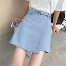 skirt Summer 2021 S,M,L,XL White, blue, black Short skirt commute High waist A-line skirt Solid color Type A 18-24 years old 71% (inclusive) - 80% (inclusive) Denim other Pocket, asymmetric, zipper Korean version 161g / m ^ 2 (including) - 180g / m ^ 2 (including)