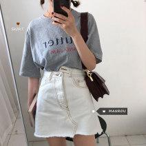 skirt Summer 2020 S,M,L White, black Short skirt commute High waist A-line skirt Solid color Type A 18-24 years old 51% (inclusive) - 70% (inclusive) other Other / other other Korean version