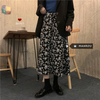 skirt Autumn 2020 Average size White, black Mid length dress commute High waist A-line skirt Broken flowers Type A 18-24 years old More than 95% Chiffon Other / other other