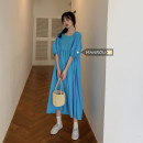 Dress Spring 2021 Lake blue, black Average size Mid length dress singleton  Short sleeve commute Crew neck High waist Solid color Socket A-line skirt puff sleeve Others 18-24 years old Type A Korean version fold 51% (inclusive) - 70% (inclusive)