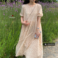 Dress Summer 2020 Picture color Average size Mid length dress singleton  Short sleeve commute Crew neck High waist Broken flowers Socket A-line skirt puff sleeve 18-24 years old Type A Other / other Korean version 51% (inclusive) - 70% (inclusive) other other