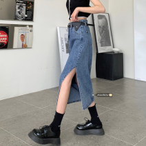 skirt Summer 2021 S,M,L Light blue, dark blue Mid length dress commute High waist Irregular Type A 18-24 years old 51% (inclusive) - 70% (inclusive) Denim Korean version