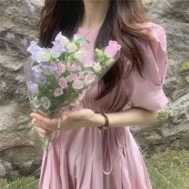 Dress Summer 2021 Apricot, blue, pink Average size Mid length dress singleton  Short sleeve commute Crew neck High waist Solid color Socket A-line skirt puff sleeve Others 18-24 years old Type A Korean version 51% (inclusive) - 70% (inclusive) cotton