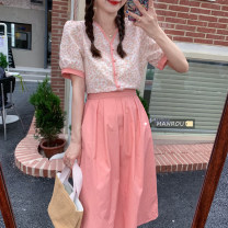 Fashion suit Summer 2021 Average size Pink top, blue top, white skirt, pink skirt 18-25 years old 51% (inclusive) - 70% (inclusive)