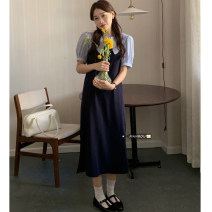 Dress Summer 2021 White shirt, blue shirt, pink suspender skirt, dark blue suspender skirt Average size Mid length dress Two piece set Sleeveless commute routine 18-24 years old Korean version 51% (inclusive) - 70% (inclusive)