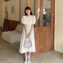 Dress Spring 2021 White, blue Average size Mid length dress singleton  Short sleeve commute Crew neck High waist Solid color Socket A-line skirt puff sleeve Others 18-24 years old Type A Korean version fold 51% (inclusive) - 70% (inclusive)