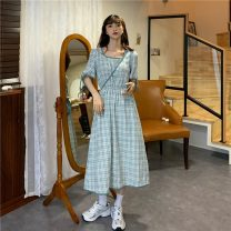 Dress Summer 2021 Black check for bags, green check for bags Average size longuette Short sleeve commute Crew neck High waist Socket A-line skirt routine 18-24 years old Korean version 51% (inclusive) - 70% (inclusive)