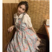 Dress Spring 2021 White coat, floral dress Average size Mid length dress singleton  Short sleeve commute Crew neck High waist Solid color routine 18-24 years old Korean version Splicing 51% (inclusive) - 70% (inclusive) cotton