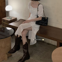 Dress Spring 2021 white M, L Mid length dress singleton  Short sleeve commute square neck High waist Solid color Socket A-line skirt puff sleeve Others 18-24 years old Type A Korean version Lace up, fold 51% (inclusive) - 70% (inclusive) Chiffon