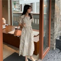 Dress Summer 2021 Blue, yellow Average size Mid length dress singleton  Short sleeve commute Crew neck High waist Decor zipper other routine 18-24 years old Type H Korean version fungus 51% (inclusive) - 70% (inclusive) other cotton