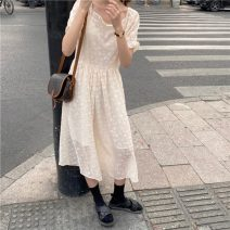 Dress Summer 2021 Beige Average size Mid length dress singleton  Short sleeve commute square neck High waist A-line skirt puff sleeve 18-24 years old Korean version 51% (inclusive) - 70% (inclusive)