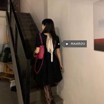 Dress Summer 2021 black Average size Short skirt singleton  Short sleeve commute High waist puff sleeve 18-24 years old Korean version 51% (inclusive) - 70% (inclusive)
