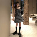 Dress Spring 2021 Carbon grey plaid skirt Average size Short skirt singleton  Sleeveless commute other High waist lattice Socket Pleated skirt other camisole 18-24 years old Type A Korean version Fold, lace up 51% (inclusive) - 70% (inclusive)
