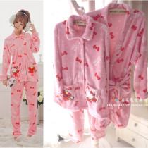 Pajamas / housewear set female Other / other Suit m (height 165, weight 110 or less) suit L (height 170, weight 130 or less) bathrobe size (height 175 or less, weight 150 or less) Suit bathrobe other Long sleeves trousers More than 95% Flannel Above 400g