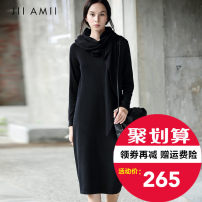 Dress Autumn of 2018 Black, dove grey 165/88A/L,155/80A/S,160/84A/M longuette singleton  Long sleeves commute Polo collar middle-waisted Solid color A button routine 25-29 years old Amii Redefine Simplicity Bandage 51% (inclusive) - 70% (inclusive) polyester fiber