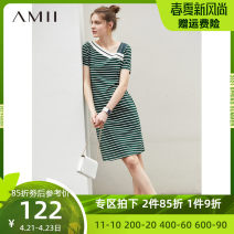 Dress Summer of 2019 Army green black bar, dark green white bar, description, deep sea blue white bar, black and white bar 170/92A/XL,150/76A/XS,160/84A/M,165/88A/L,175/96A/XXL,155/80A/S Middle-skirt singleton  Short sleeve commute middle-waisted stripe Socket A-line skirt routine 25-29 years old