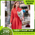Dress Spring of 2019 Description, army green, poppy red Spare, 160 / 84A / m, 165 / 88a / L, 155 / 80A / S longuette singleton  Long sleeves commute Loose waist Solid color routine 25-29 years old Amii Simplicity Bandage More than 95% other