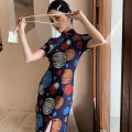 cheongsam Summer 2021 S M L XL XXL Color planet Short sleeve Short cheongsam Retro Low slit daily Oblique lapel other 18-25 years old Piping YC-2339 Love clothes polyester fiber Polyester 100% Pure e-commerce (online only)