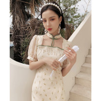 cheongsam Summer 2021 S M L XL XXL Life is like summer flowers Short sleeve Short cheongsam Retro Low slit daily Round lapel Broken flowers 18-25 years old Piping YC-2359 Love clothes polyester fiber Polyester 100% Pure e-commerce (online only)
