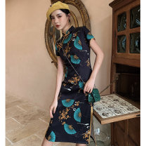 cheongsam Spring 2021 S M L XL XXL Light pursuer Short sleeve long cheongsam Retro High slit daily Oblique lapel other 18-25 years old Piping YHH-2310 Love clothes polyester fiber Polyester 100% Pure e-commerce (online only)