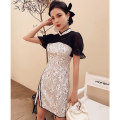 cheongsam Spring 2021 S M L XL nightshade Short sleeve Short cheongsam Retro Low slit daily Round lapel other 18-25 years old Piping Yc-2338 lace Love clothes polyester fiber Polyester 100% Pure e-commerce (online only)