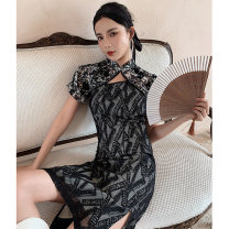 cheongsam Spring 2021 S M L XL Dream icing Short sleeve Short cheongsam Retro Low slit daily Round lapel other 18-25 years old Piping YC-2314 Love clothes other Other 100% Pure e-commerce (online only)