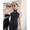 cheongsam Summer 2021 S M L XL Light years Short sleeve long cheongsam Retro Low slit daily Round lapel other 18-25 years old Piping Love clothes polyester fiber Polyester 100% Pure e-commerce (online only)