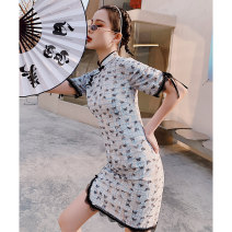 cheongsam Spring 2021 S M L XL Butterfly Love Short sleeve Short cheongsam Retro Low slit daily Oblique lapel Animal design 18-25 years old Embroidery YC-2363 Love clothes polyester fiber Polyester 100% Pure e-commerce (online only)
