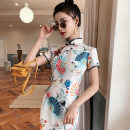 cheongsam Spring 2021 S M L XL XXL Listen to the wind Short sleeve long cheongsam Retro High slit daily Oblique lapel other 18-25 years old Piping YHH-2318 Love clothes polyester fiber Polyester 100% Pure e-commerce (online only)