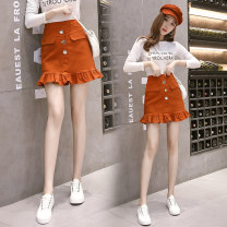 skirt Spring 2021 S,M,L,XL Khaki, white, black, embroidered red Short skirt commute 18-24 years old 8 9 1 Other / other Korean version