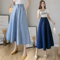 skirt Spring 2021 S,M,L,XL,2XL Light blue, dark blue Mid length dress commute High waist Denim skirt Solid color Type A 18-24 years old 8 6 3 Denim Korean version