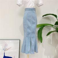 skirt Summer of 2019 L,M,S wathet Mid length dress commute High waist skirt Solid color Type O 18-24 years old Denim cotton zipper Korean version