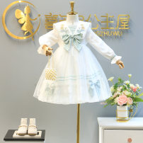 Dress white female Other / other 90cm (size 5), 100cm (size 7), 110cm (size 9), 120cm (size 11), 130cm (size 13), 140cm (size 15), 150cm (size 17) Other 100% spring and autumn princess Long sleeves other other Plaid embroidered dress 2, 3, 4, 5, 6, 7, 8, 9, 10 years old Chinese Mainland