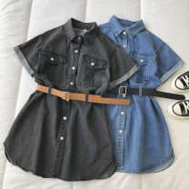 Dress Summer 2021 Black, blue Average size Short skirt singleton  Short sleeve commute Polo collar Solid color Single breasted 18-24 years old Type H Korean version Button 51% (inclusive) - 70% (inclusive) other