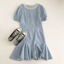 Dress Summer 2021 blue Average size Mid length dress singleton  Short sleeve commute Crew neck Solid color Socket 18-24 years old Type H Korean version Nail bead 51% (inclusive) - 70% (inclusive)