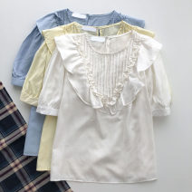 shirt Yellow, white, blue Average size Summer 2021 other 51% (inclusive) - 70% (inclusive) Short sleeve commute Regular Crew neck Socket Solid color 18-24 years old Straight cylinder Korean version Ruffles, folds