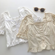 shirt Apricot, white Average size Summer 2021 other 51% (inclusive) - 70% (inclusive) Short sleeve commute Short style (40cm < length ≤ 50cm) square neck Socket Solid color 18-24 years old Self cultivation Korean version fungus