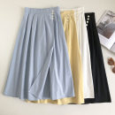 skirt Summer 2021 Average size Yellow, black, white, blue Mid length dress commute High waist Solid color Type A 18-24 years old 51% (inclusive) - 70% (inclusive) Korean version