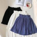 skirt Summer of 2019 Average size White, black, blue Short skirt commute High waist Pleated skirt Solid color Type A 18-24 years old Korean version