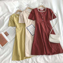Dress Summer 2020 Average size Mid length dress singleton  Short sleeve commute square neck Single breasted 18-24 years old Type A Korean version 51% (inclusive) - 70% (inclusive)