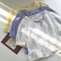 shirt Blue, white, apricot Average size Summer 2021 other 51% (inclusive) - 70% (inclusive) Short sleeve commute Short style (40cm < length ≤ 50cm) V-neck Single row multi button Solid color 18-24 years old Straight cylinder Korean version Embroidery, crochet, hollow out, button