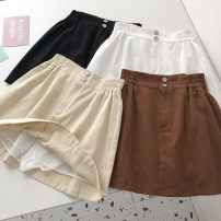 skirt Summer 2021 M, L Chocolate, white, black, khaki Short skirt commute High waist Solid color Type A 18-24 years old 51% (inclusive) - 70% (inclusive) Korean version