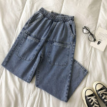 Jeans Summer 2021 blue S,M,L trousers High waist Haren pants routine 18-24 years old 51% (inclusive) - 70% (inclusive)