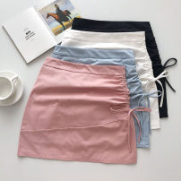skirt Summer 2021 S,M,L Pink, blue, white, black Short skirt commute High waist A-line skirt Solid color Type A 18-24 years old 51% (inclusive) - 70% (inclusive) Pleating Korean version