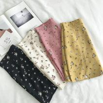 skirt Summer 2020 S,M,L White, black, yellow, pink Short skirt commute High waist Type A 18-24 years old printing Korean version